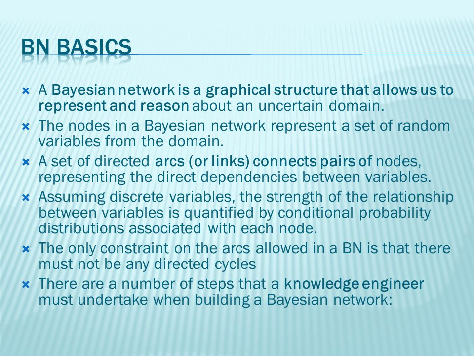 A Bayesian network is a graphical structure that allows us to represent and reason about an uncertain domain.