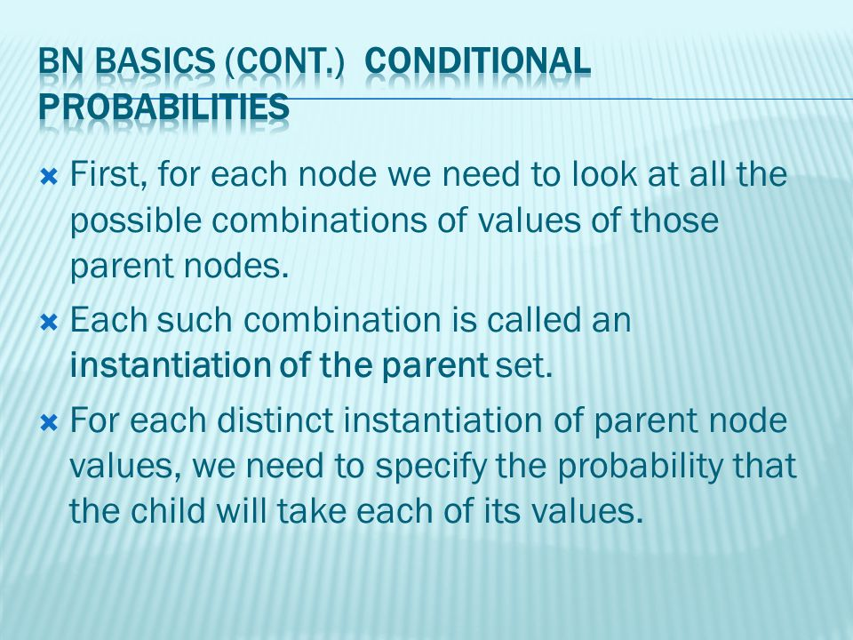 First, for each node we need to look at all the possible combinations of values of those parent nodes.