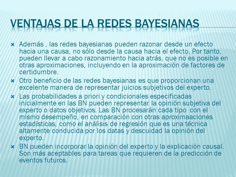 Además, las redes bayesianas pueden razonar desde un efecto hacia una causa, no sólo desde la causa hacia el efecto. Por tanto, pueden llevar a cabo r