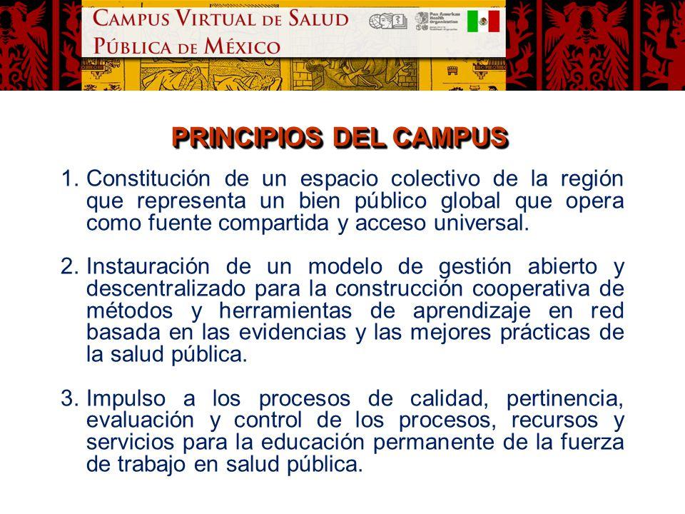 PRINCIPIOS DEL CAMPUS 1.Constitución de un espacio colectivo de la región que representa un bien público global que opera como fuente compartida y acc