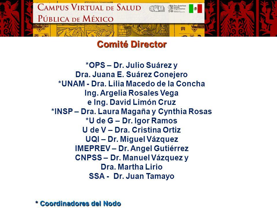 Comité Director *OPS – Dr. Julio Suárez y Dra. Juana E. Suárez Conejero *UNAM - Dra. Lilia Macedo de la Concha Ing. Argelia Rosales Vega e Ing. David