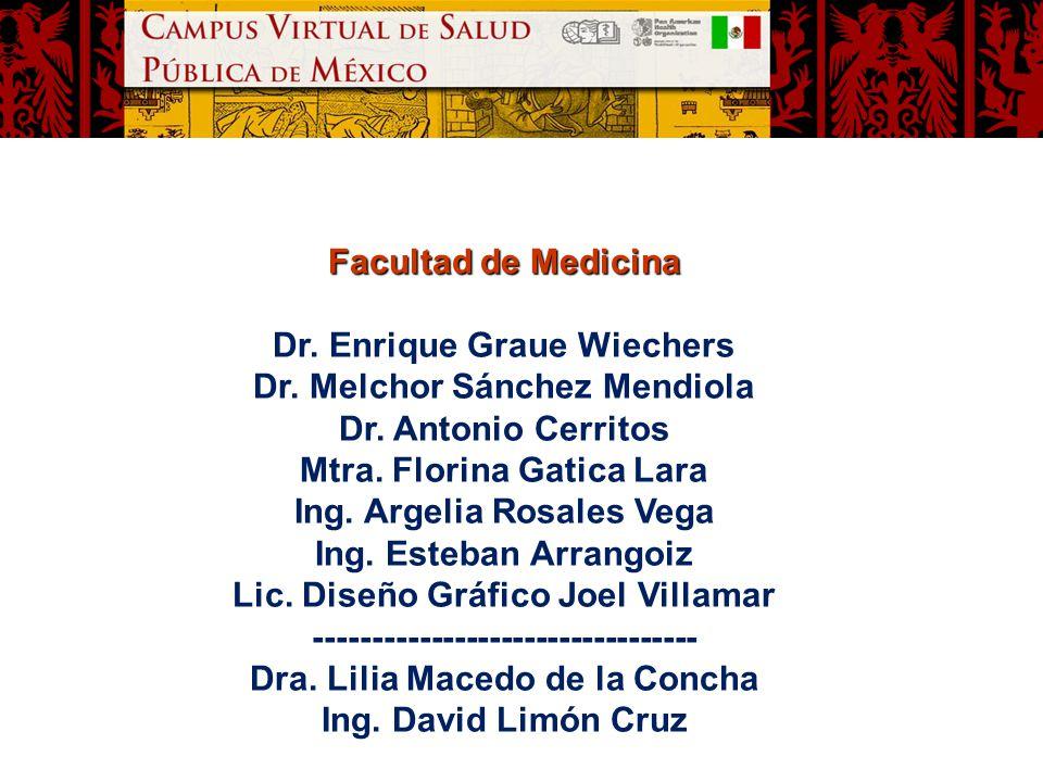 Facultad de Medicina Dr. Enrique Graue Wiechers Dr. Melchor Sánchez Mendiola Dr. Antonio Cerritos Mtra. Florina Gatica Lara Ing. Argelia Rosales Vega