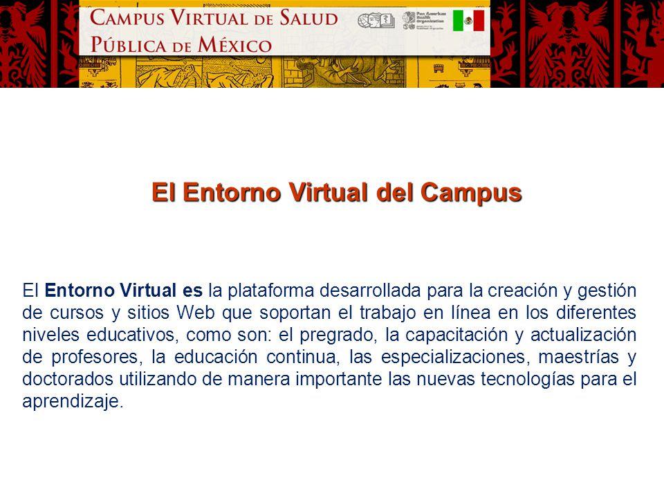 El Entorno Virtual del Campus El Entorno Virtual es la plataforma desarrollada para la creación y gestión de cursos y sitios Web que soportan el traba