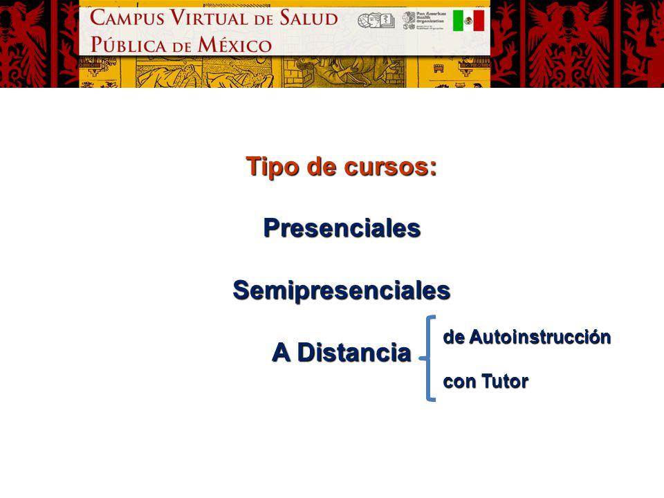 Tipo de cursos: PresencialesSemipresenciales A Distancia de Autoinstrucción con Tutor