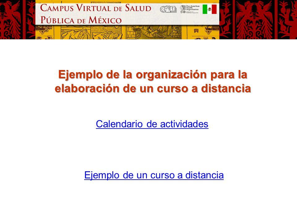 Ejemplo de la organización para la elaboración de un curso a distancia Calendario de actividades Ejemplo de un curso a distancia