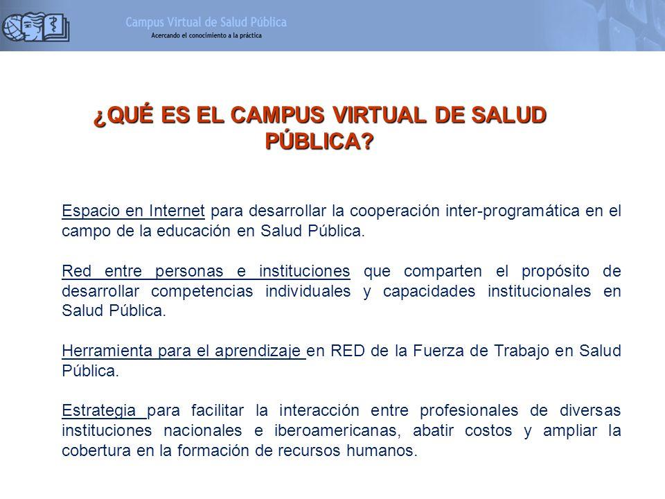 ¿QUÉ ES EL CAMPUS VIRTUAL DE SALUD PÚBLICA? Espacio en Internet para desarrollar la cooperación inter-programática en el campo de la educación en Salu