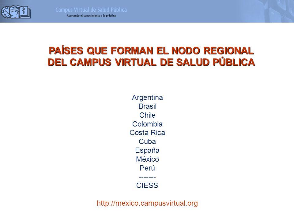 PAÍSES QUE FORMAN EL NODO REGIONAL DEL CAMPUS VIRTUAL DE SALUD PÚBLICA Argentina Brasil Chile Colombia Costa Rica Cuba España México Perú ------- CIES