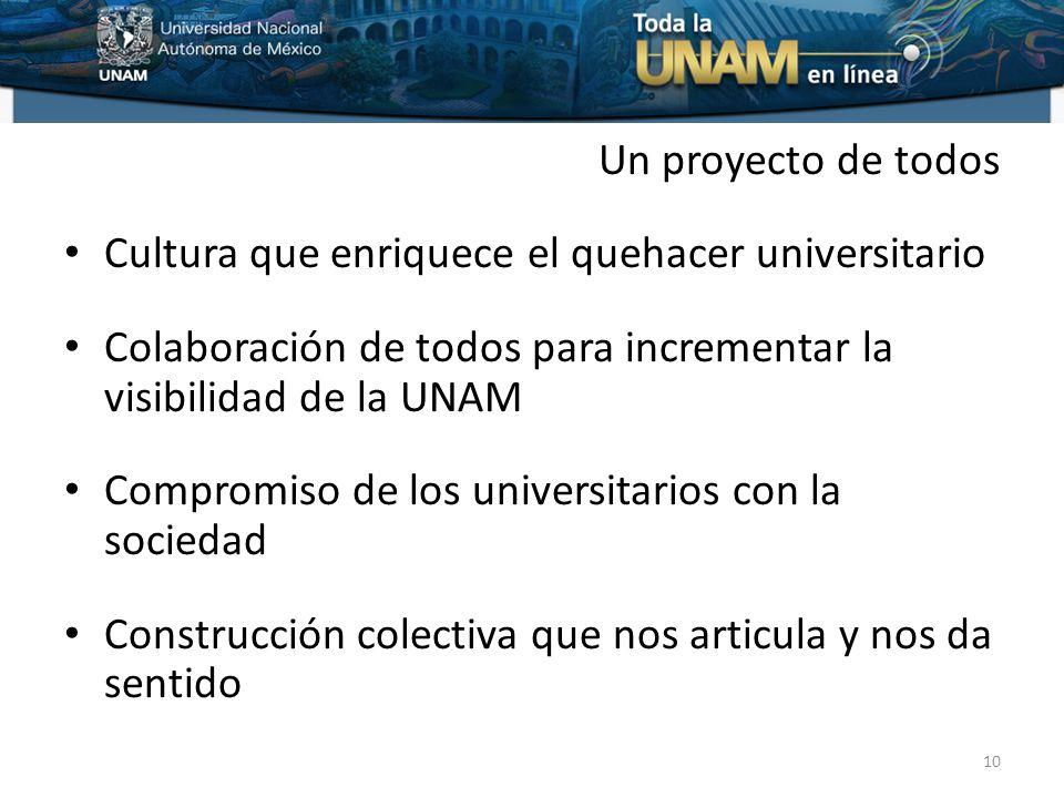 Un proyecto de todos Cultura que enriquece el quehacer universitario Colaboración de todos para incrementar la visibilidad de la UNAM Compromiso de los universitarios con la sociedad Construcción colectiva que nos articula y nos da sentido 10