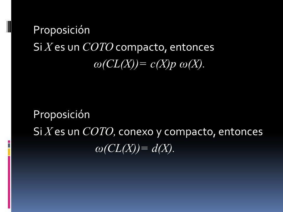 Proposición Si X es un COTO compacto, entonces ω(CL(X))= c(X)p ω(X). Proposición Si X es un COTO, conexo y compacto, entonces ω(CL(X))= d(X).