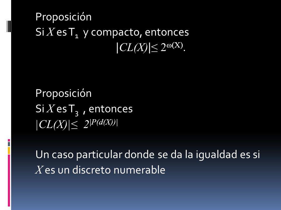 Proposición Si X es T 1 y compacto, entonces | CL(X) | 2 ω(X). Proposición Si X es T 3, entonces |CL(X)| 2 |P(d(X))| Un caso particular donde se da la