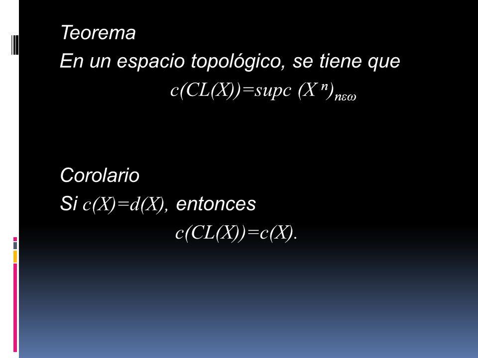 Teorema En un espacio topológico, se tiene que c(CL(X))=supc (X n ) nεω Corolario Si c(X)=d(X), entonces c(CL(X))=c(X).