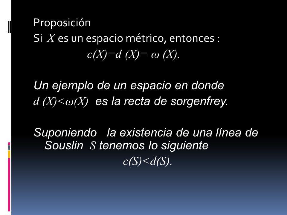 Proposición Si X es un espacio métrico, entonces : c(X)=d (X)= ω (X). Un ejemplo de un espacio en donde d (X)<ω(X) es la recta de sorgenfrey. Suponien