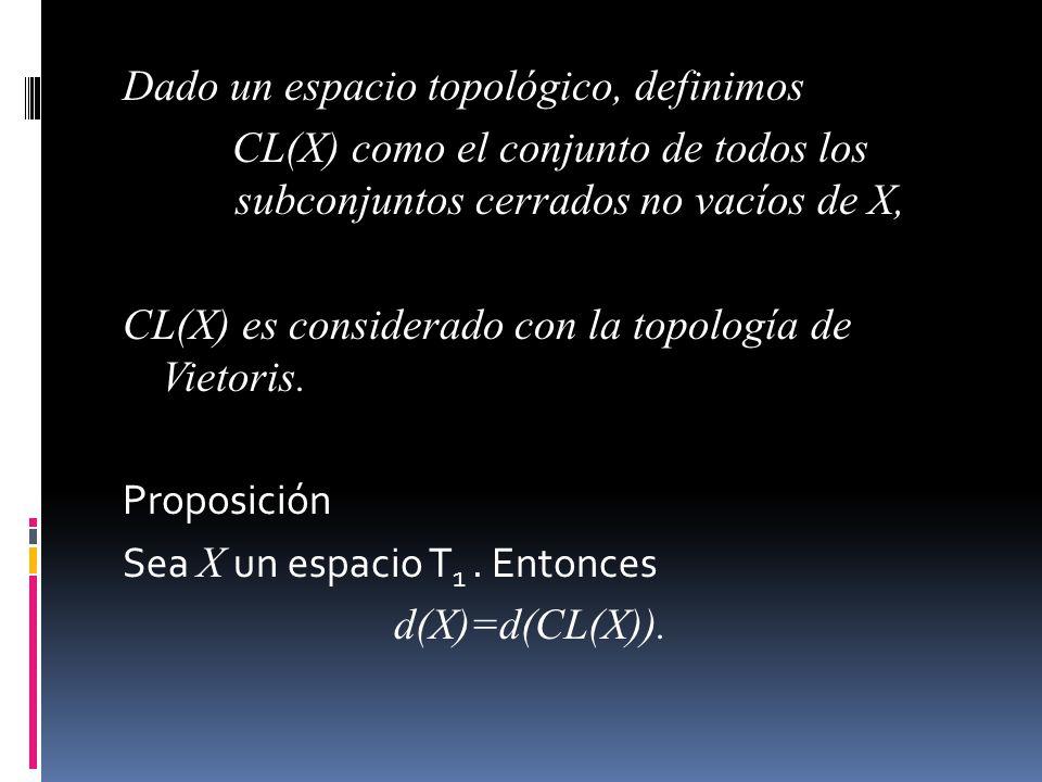 Dado un espacio topológico, definimos CL(X) como el conjunto de todos los subconjuntos cerrados no vacíos de X, CL(X) es considerado con la topología