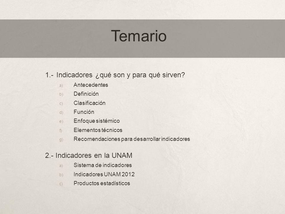 Temario 1.-Indicadores ¿qué son y para qué sirven? a) Antecedentes b) Definición c) Clasificación d) Función e) Enfoque sistémico f) Elementos técnico