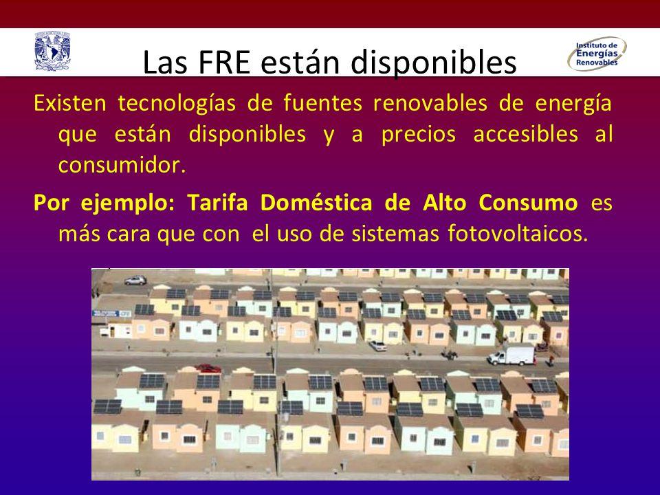 Las FRE están disponibles Existen tecnologías de fuentes renovables de energía que están disponibles y a precios accesibles al consumidor. Por ejemplo