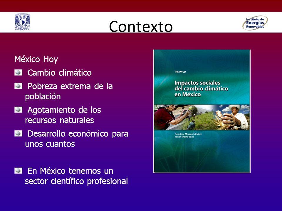 Contexto México Hoy Cambio climático Pobreza extrema de la población Agotamiento de los recursos naturales Desarrollo económico para unos cuantos En M