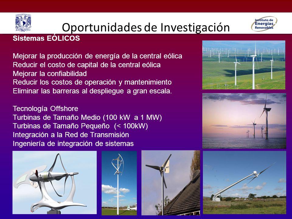 Oportunidades de Investigación Sistemas EÓLICOS Mejorar la producción de energía de la central eólica Reducir el costo de capital de la central eólica