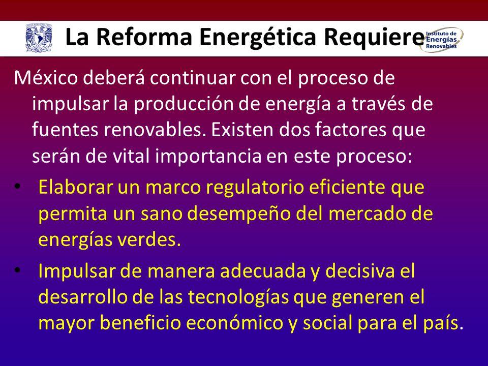 México deberá continuar con el proceso de impulsar la producción de energía a través de fuentes renovables. Existen dos factores que serán de vital im