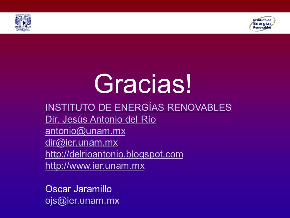 Gracias! INSTITUTO DE ENERGÍAS RENOVABLES Dir. Jesús Antonio del Río antonio@unam.mx dir@ier.unam.mx http://delrioantonio.blogspot.com http://www.ier.