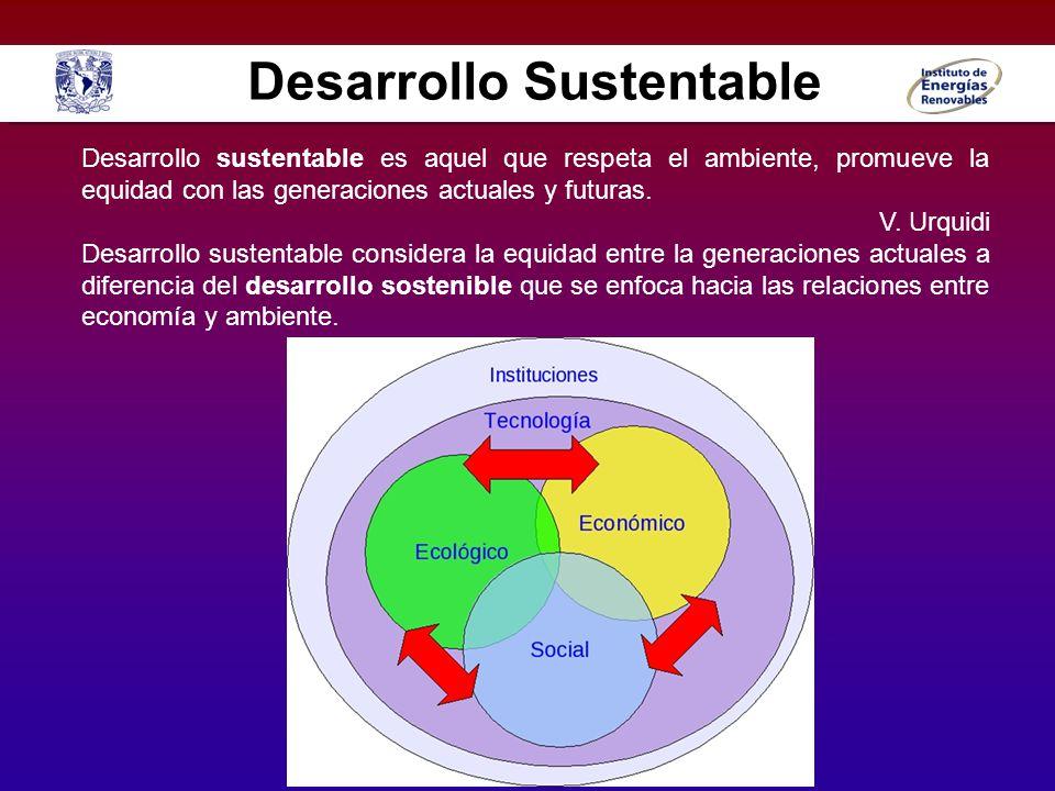 Desarrollo sustentable es aquel que respeta el ambiente, promueve la equidad con las generaciones actuales y futuras. V. Urquidi Desarrollo sustentabl