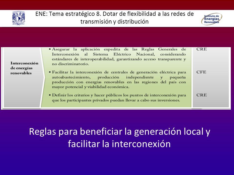 ENE: Tema estratégico 8. Dotar de flexibilidad a las redes de transmisión y distribución Reglas para beneficiar la generación local y facilitar la int