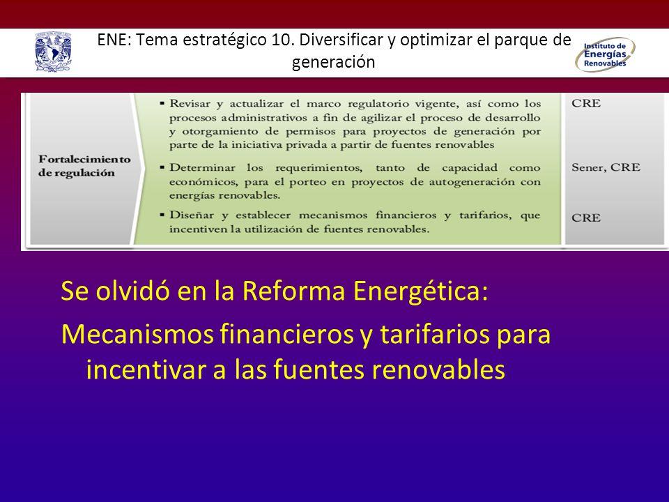 ENE: Tema estratégico 10. Diversificar y optimizar el parque de generación Se olvidó en la Reforma Energética: Mecanismos financieros y tarifarios par