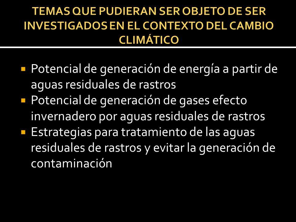 Potencial de generación de energía a partir de aguas residuales de rastros Potencial de generación de gases efecto invernadero por aguas residuales de