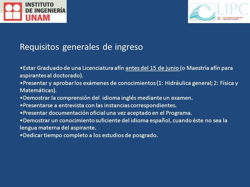 Requisitos generales de ingreso Estar Graduado de una Licenciatura afín antes del 15 de junio (o Maestría afín para aspirantes al doctorado).