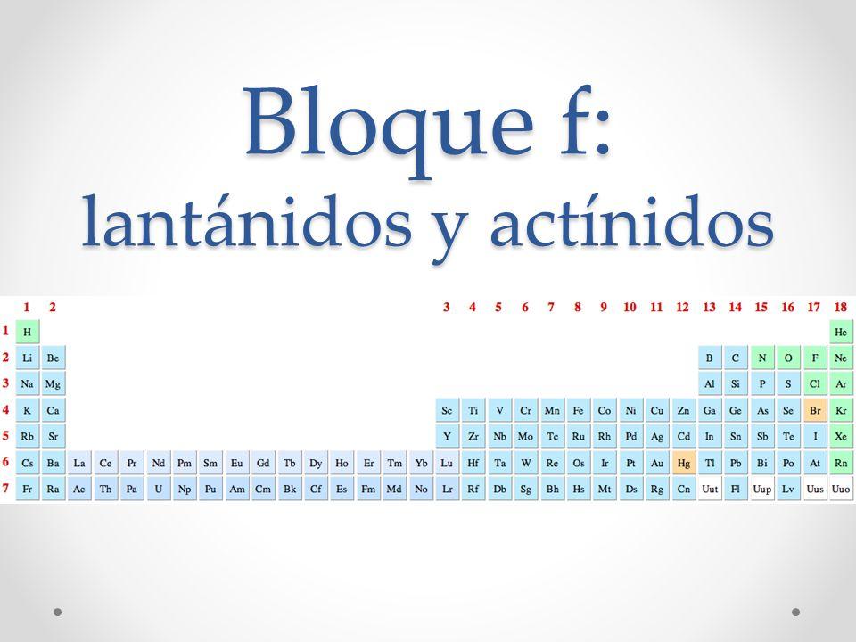 Ubicación en la tabla períodica Lantánidos (lantanoides) Actínidos (actinoides) Grupo 2 Configuración electrónica Grupo 3 Configuración electrónica Ca[Ar] 4s 2 Sc[Ar] 3d 1 4s 2 Sr[Kr] 5s 2 Y[Kr] 4d 1 5s 2 Ba[Xe] 6s 2 La Lu [Xe] 5d 1 6s 2 [Xe]4f 14 5d 1 6s 2 Ra[Rn] 7s 2 Ac Lr [Rn] 6d 1 7s 2 [Rn] 5f 14 5d 1 7s 2
