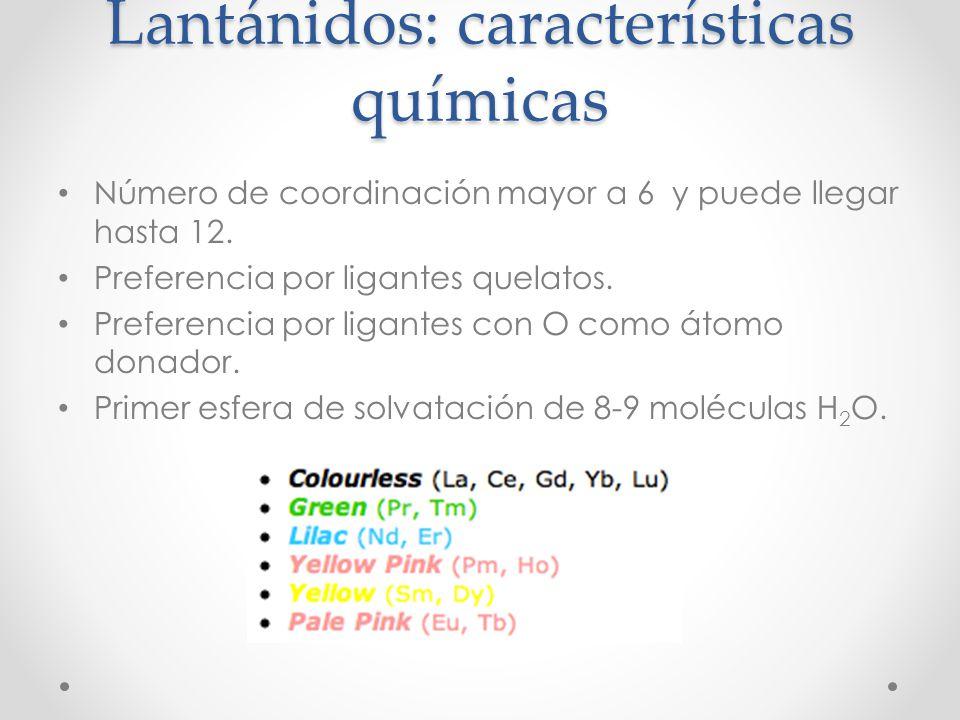 Lantánidos: características químicas Número de coordinación mayor a 6 y puede llegar hasta 12. Preferencia por ligantes quelatos. Preferencia por liga