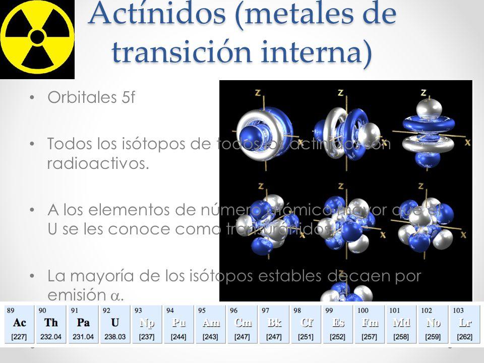Actínidos (metales de transición interna) Orbitales 5f Todos los isótopos de todos los actínidos son radioactivos. A los elementos de número atómico m