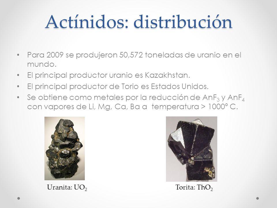 Actínidos: distribución Para 2009 se produjeron 50,572 toneladas de uranio en el mundo. El principal productor uranio es Kazakhstan. El principal prod