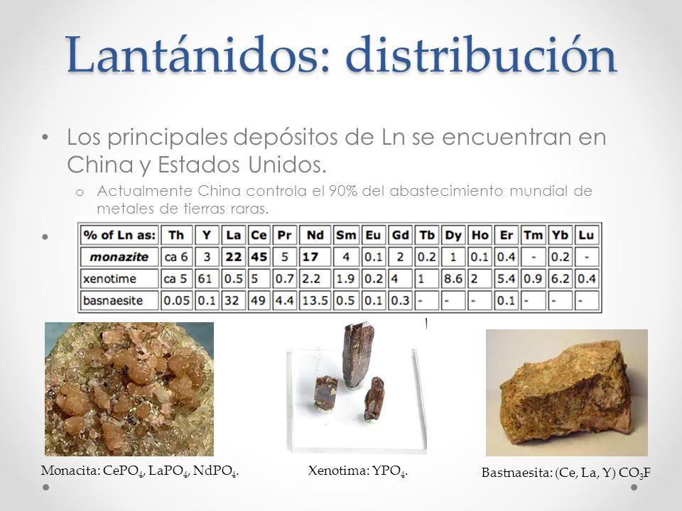 Lantánidos: distribución Los principales depósitos de Ln se encuentran en China y Estados Unidos. o Actualmente China controla el 90% del abastecimien