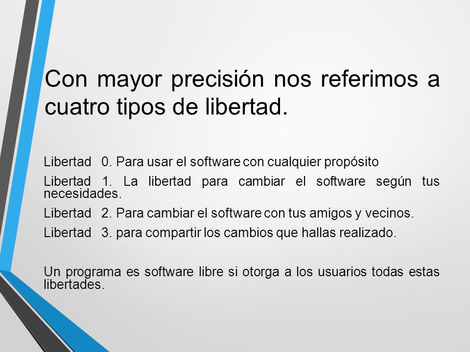 Con mayor precisión nos referimos a cuatro tipos de libertad. Libertad 0. Para usar el software con cualquier propósito Libertad 1. La libertad para c