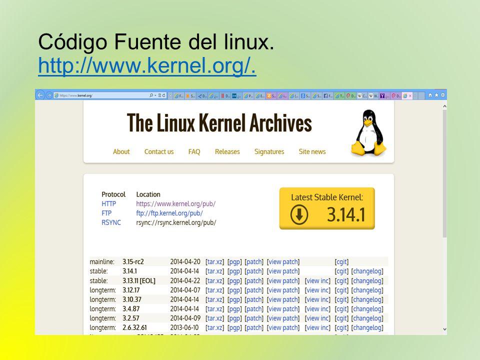 Código Fuente del linux. http://www.kernel.org/. http://www.kernel.org/.