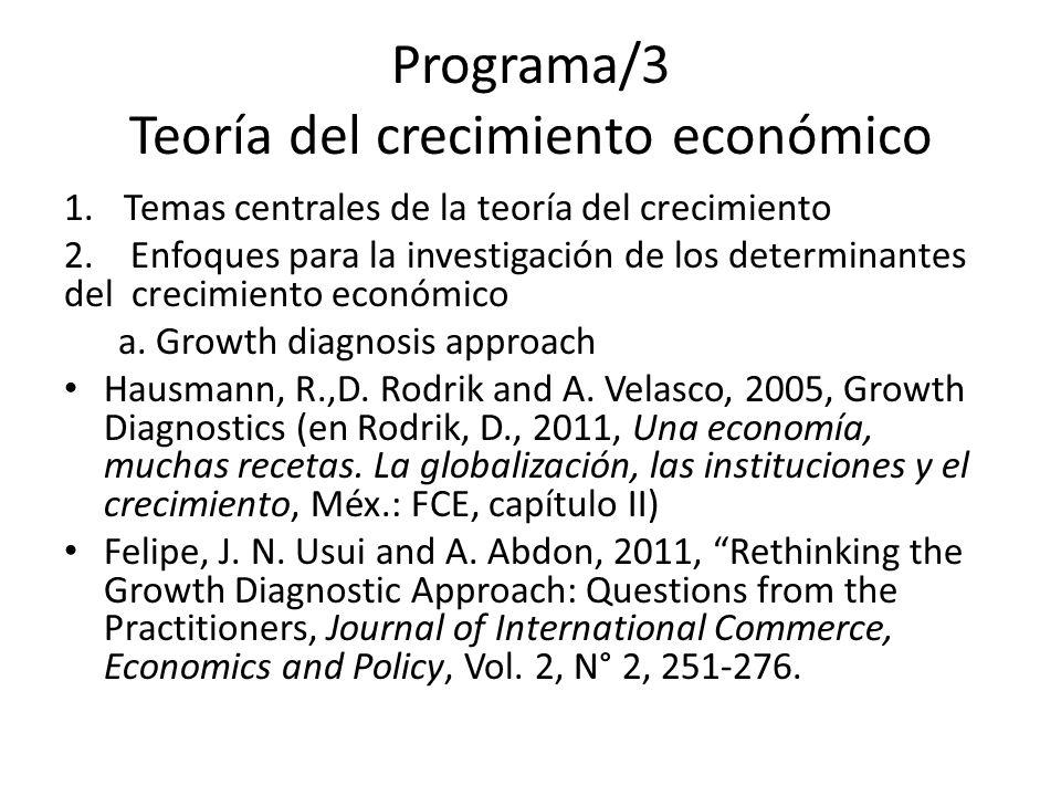 Programa/3 Teoría del crecimiento económico 1.Temas centrales de la teoría del crecimiento 2.