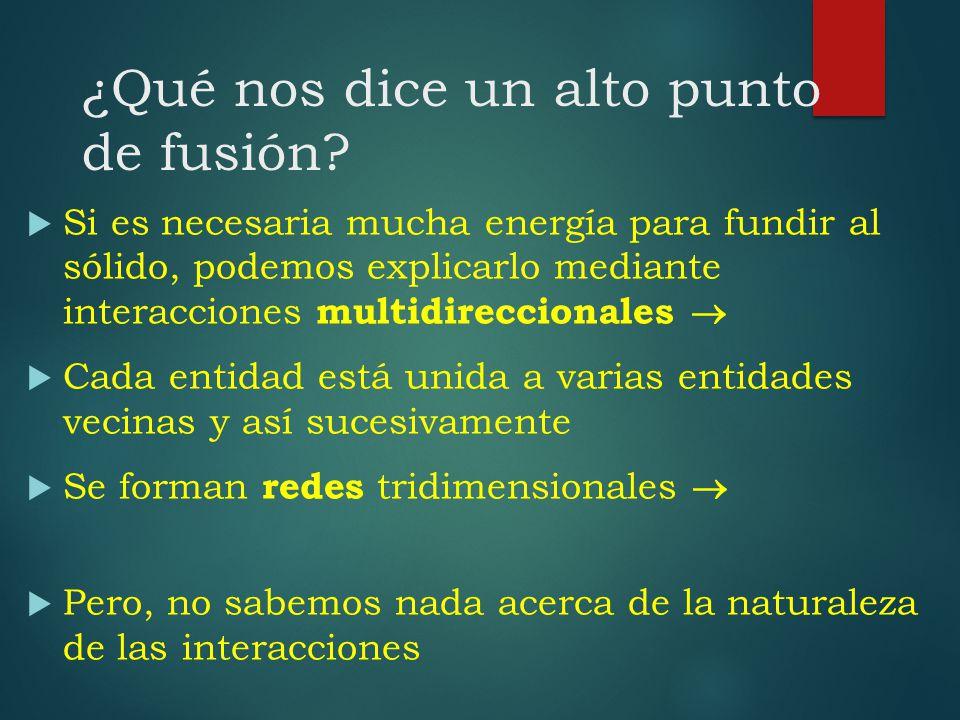 ¿Qué nos dice un alto punto de fusión? Si es necesaria mucha energía para fundir al sólido, podemos explicarlo mediante interacciones multidireccional