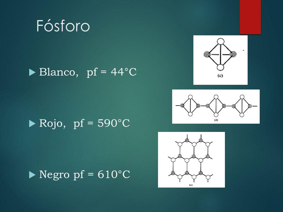 Fósforo Blanco, pf = 44°C Rojo, pf = 590°C Negro pf = 610°C