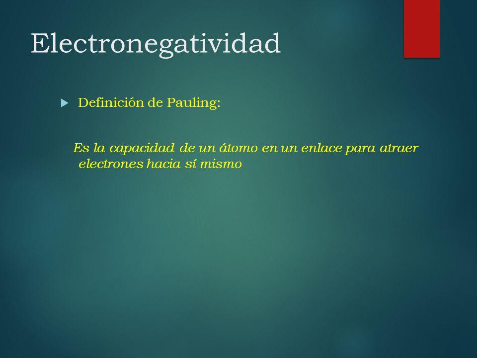 Electronegatividad Definición de Pauling: Es la capacidad de un átomo en un enlace para atraer electrones hacia sí mismo