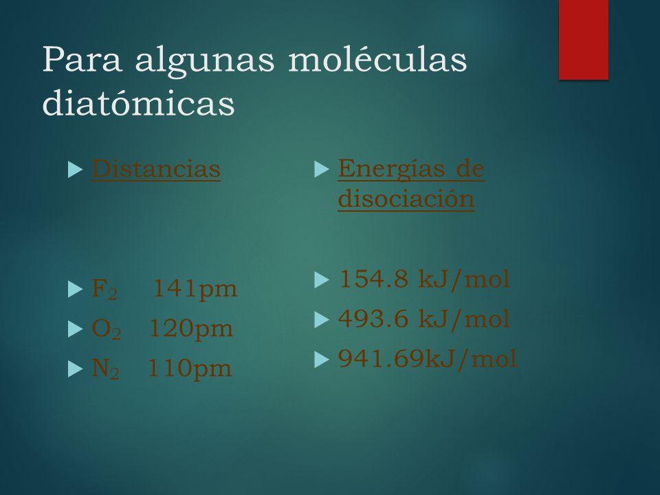 Para algunas moléculas diatómicas Distancias F 2 141pm O 2 120pm N 2 110pm Energías de disociación 154.8 kJ/mol 493.6 kJ/mol 941.69kJ/mol