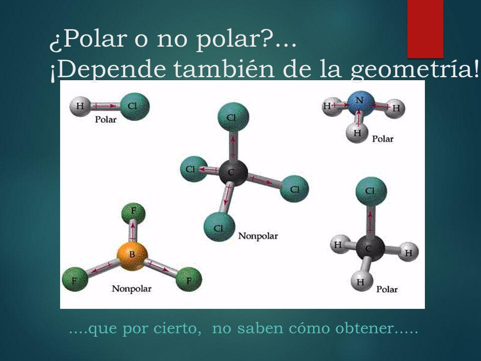¿Polar o no polar?... ¡Depende también de la geometría!....que por cierto, no saben cómo obtener.....
