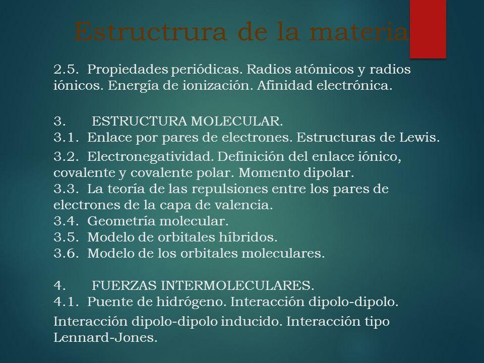 Estructrura de la materia 2.5. Propiedades periódicas. Radios atómicos y radios iónicos. Energía de ionización. Afinidad electrónica. 3. ESTRUCTURA MO