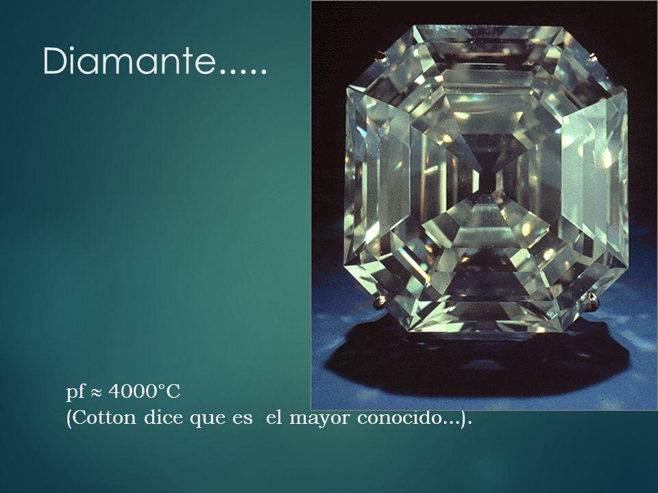 Diamante..... pf 4000°C (Cotton dice que es el mayor conocido...).