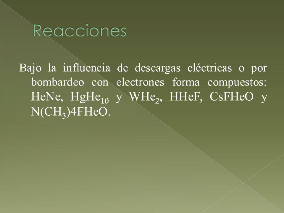 Bajo la influencia de descargas eléctricas o por bombardeo con electrones forma compuestos: HeNe, HgHe 10 y WHe 2, HHeF, CsFHeO y N(CH 3 )4FHeO.