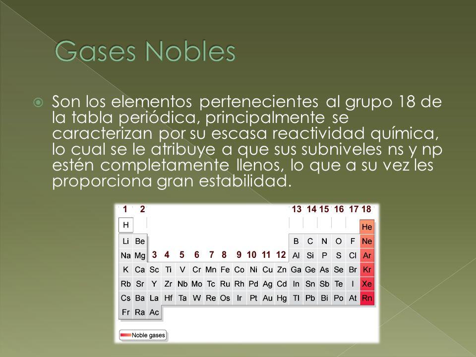 Son los elementos pertenecientes al grupo 18 de la tabla periódica, principalmente se caracterizan por su escasa reactividad química, lo cual se le atribuye a que sus subniveles ns y np estén completamente llenos, lo que a su vez les proporciona gran estabilidad.