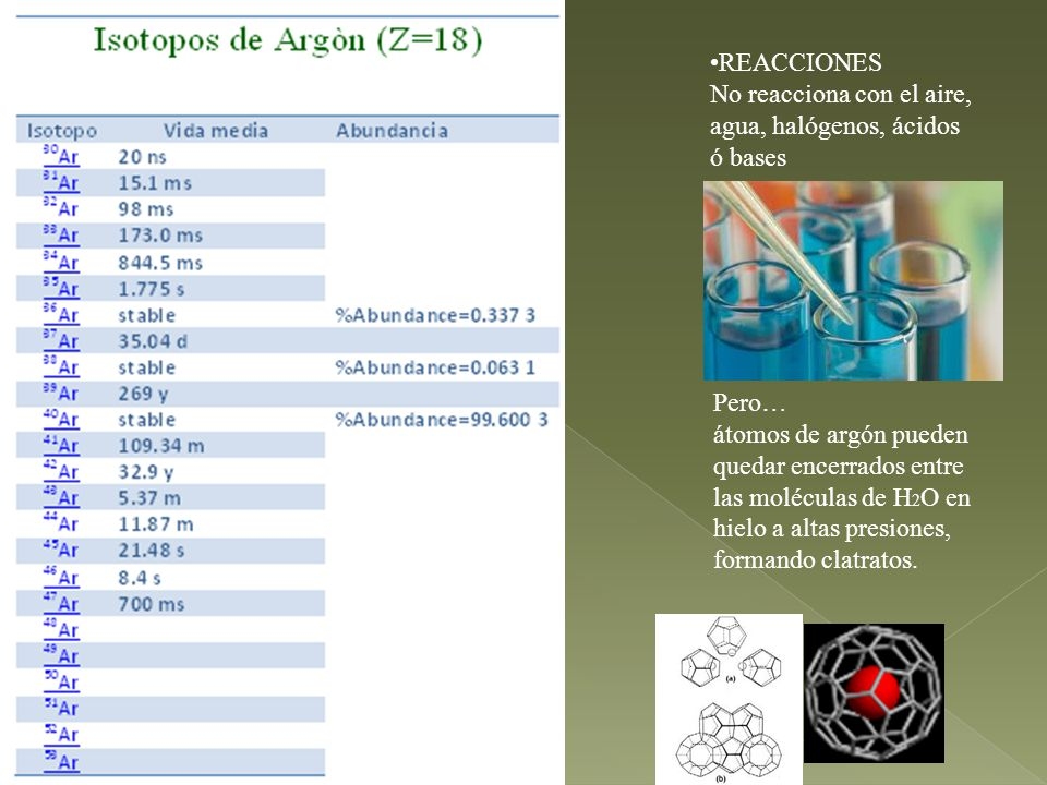 Pero… átomos de argón pueden quedar encerrados entre las moléculas de H 2 O en hielo a altas presiones, formando clatratos.