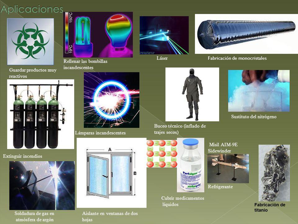 Guardar productos muy reactivos Extinguir incendios Soldadura de gas en atmósfera de argón Cubrir medicamentos líquidos Rellenar las bombillas incande