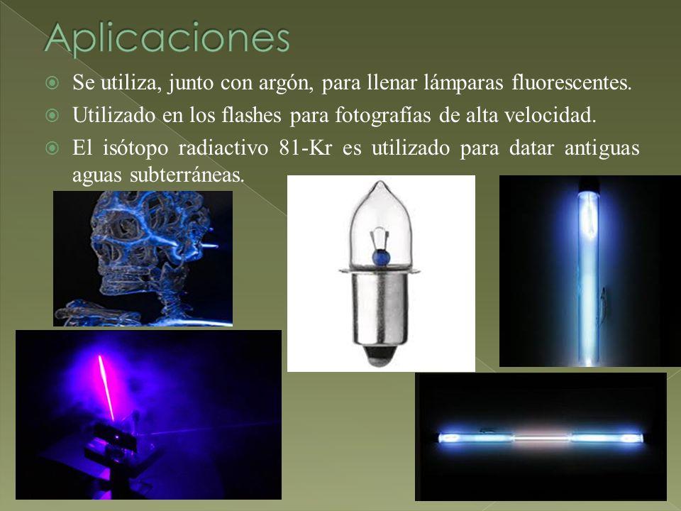 Se utiliza, junto con argón, para llenar lámparas fluorescentes. Utilizado en los flashes para fotografías de alta velocidad. El isótopo radiactivo 81