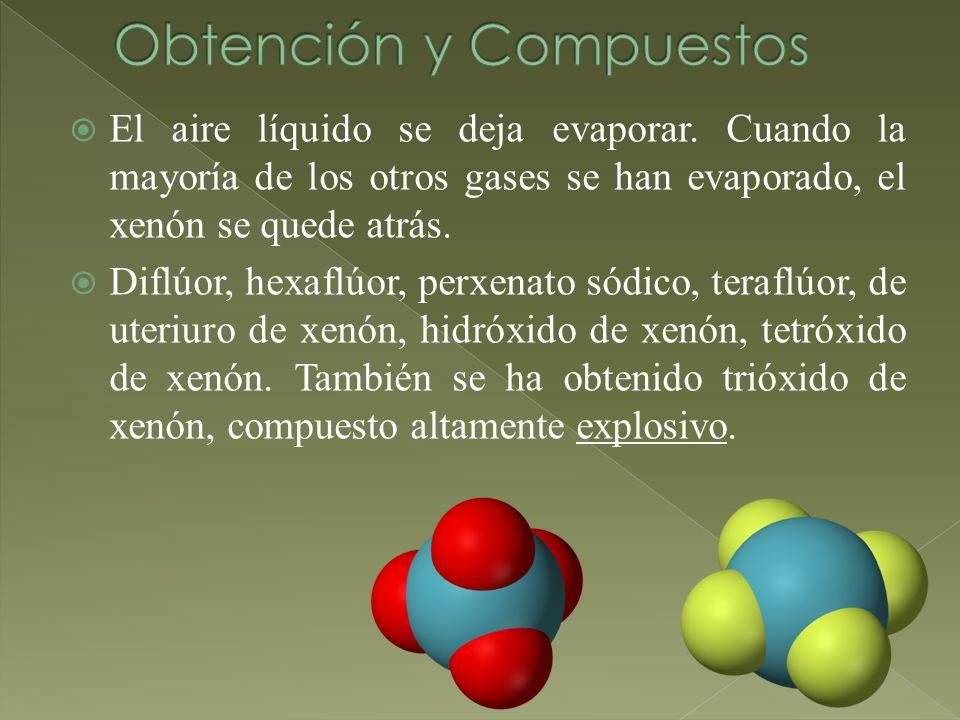 El aire líquido se deja evaporar. Cuando la mayoría de los otros gases se han evaporado, el xenón se quede atrás. Diflúor, hexaflúor, perxenato sódico