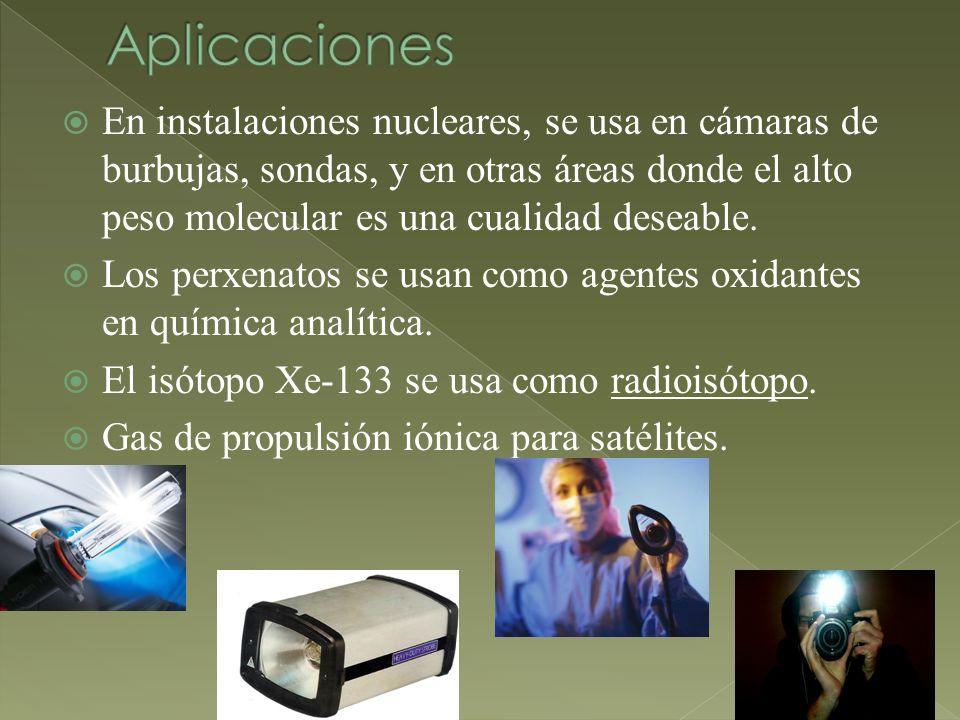 En instalaciones nucleares, se usa en cámaras de burbujas, sondas, y en otras áreas donde el alto peso molecular es una cualidad deseable. Los perxena
